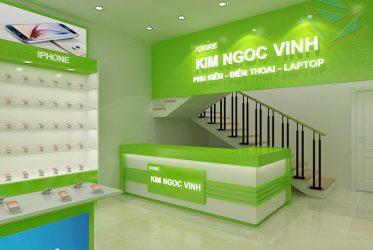Thiết kế thi công kệ trưng bày điện thoại laptop Kim Ngọc Vinh