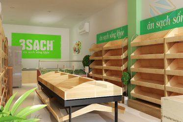 Kệ trưng bày cửa hàng trái cây và rau sạch