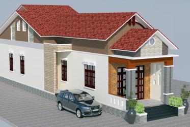 Mẫu thiết kế nhà cấp 4 đẹp một tầng mái thái 6x26m anh Hạ