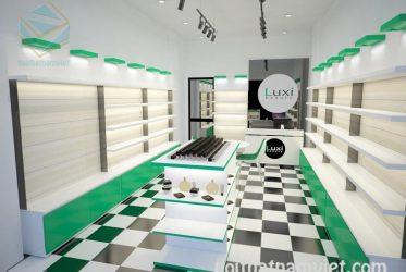 Thiết kế thi công kệ trưng bày mỹ phẩm Luxi
