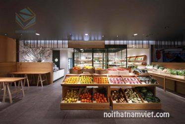 Thiết kế thi công kệ gỗ trưng bày cửa hàng trái cây hoa quả sạch